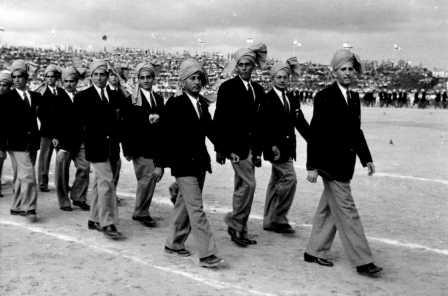 The Indian team at the opening ceremony of the 1950 Maccabiah (PHG\1012096)
