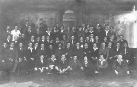 "World convention of ""Blau-Weiss"" youth in Danzig in late 1924. First row from left to right: 2-Levi Eshkol (Shkolnik), 4-Abba Hu"