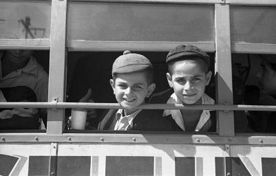 Two of the 487 orphans from Cyprus, return to Palestine (NKH\404085)
